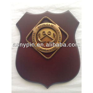 Spanish Armada Navy Souvenir Shield Wood Plaque,curved wood plate,3D badge emblem
