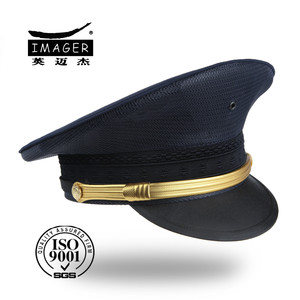 High quality custom made black military corps peaked cap