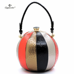 China Supplier Wholesale ChristmasOstrich Stripe Frame Satchel bag special shape faux leather bag