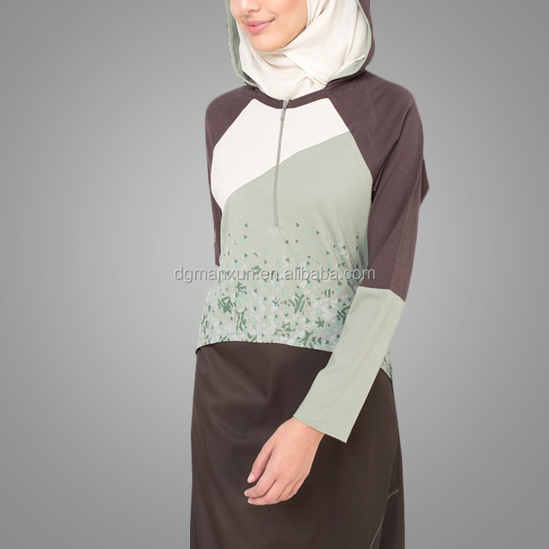 Newest Fashion Muslim Sportswear Cosy Women Sports Abaya Floral Wholesale Jalabiya