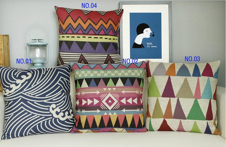 Bohemian pillow Simple Linen cushion Linen pillowcases Home Decor Sofa cushions