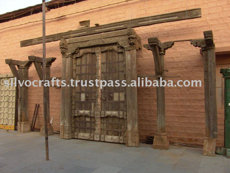 Architectural Antiques Indian Wooden Hand Carved Panel Old Door ...