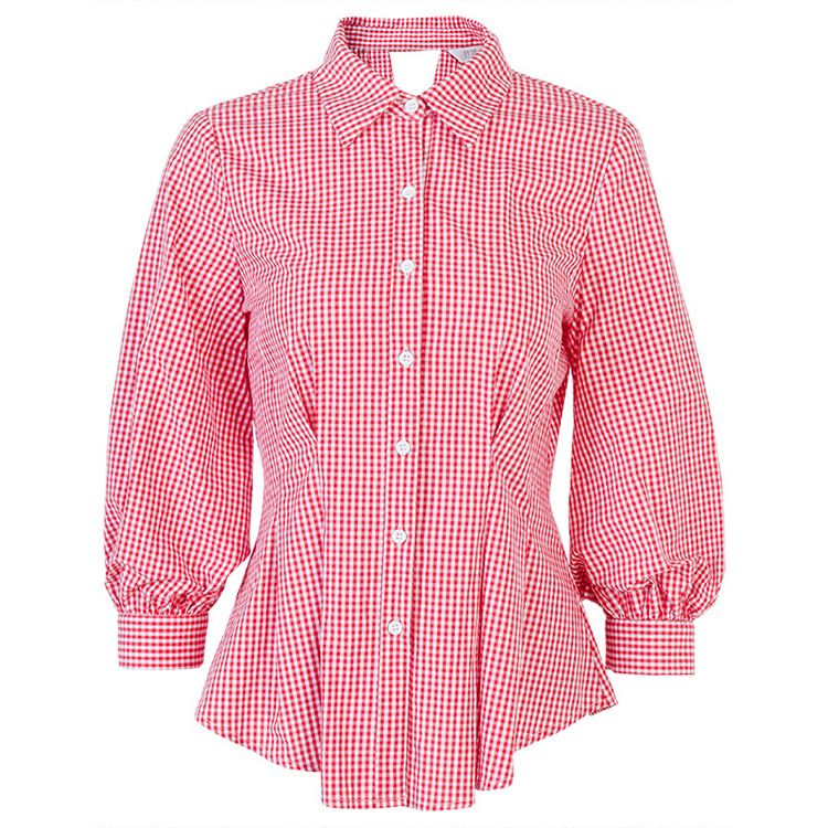 Latest Design Sexy Woven 100% <strong>Cotton</strong> Plaid Long Sleeve <strong>Lady</strong> <strong>Blouse</strong> &amp; Top