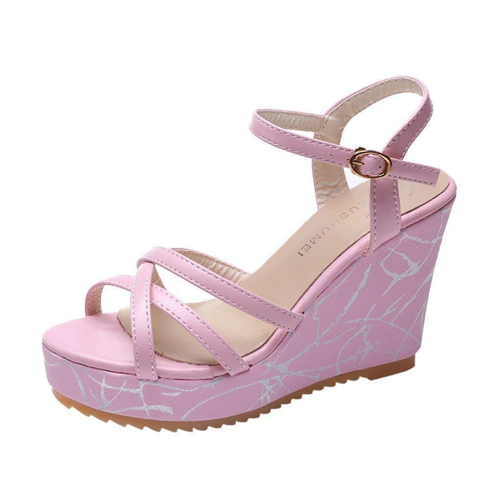 ec0978e21c7a4 Sandals For Women-Womens Summer Espadrille Wedge Sandals Fashion Strap  Buckle Suede
