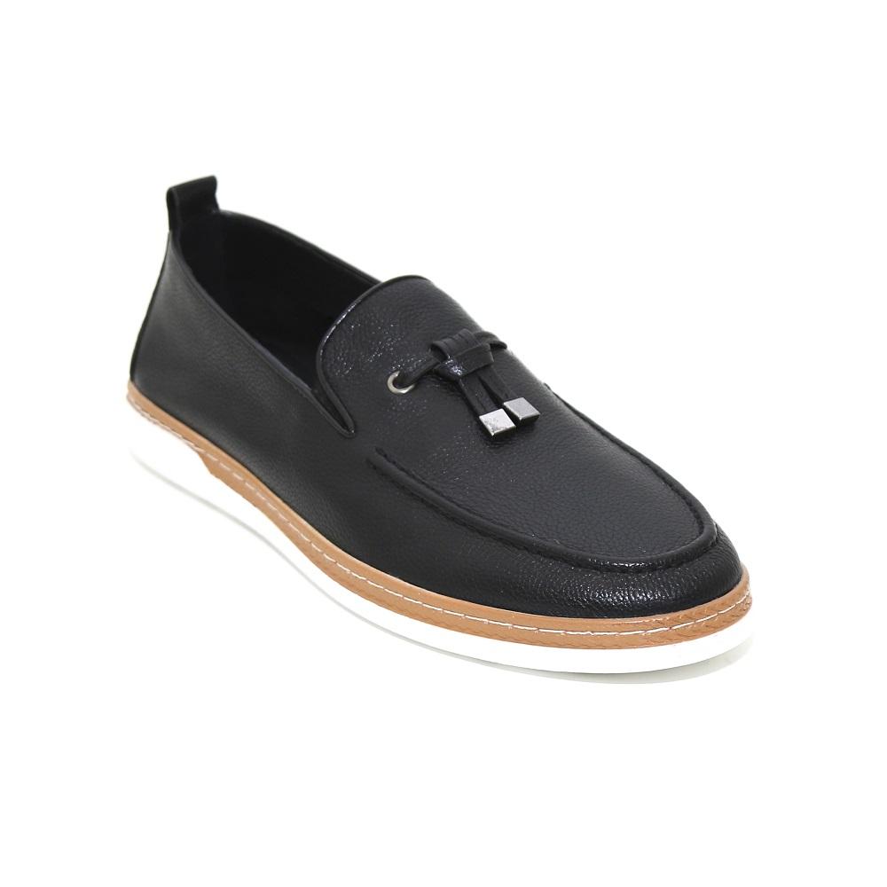 2019 Nuevo Diseño Hecho A Mano De Los Hombres Casuales Zapatos De Borla De Cuero Genuino Holgazán Zapatos Para Hombres Baot Zapatos Mocasín Negro