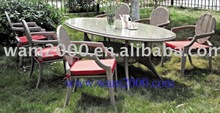 Aluminium PE wicker dining table and chairs
