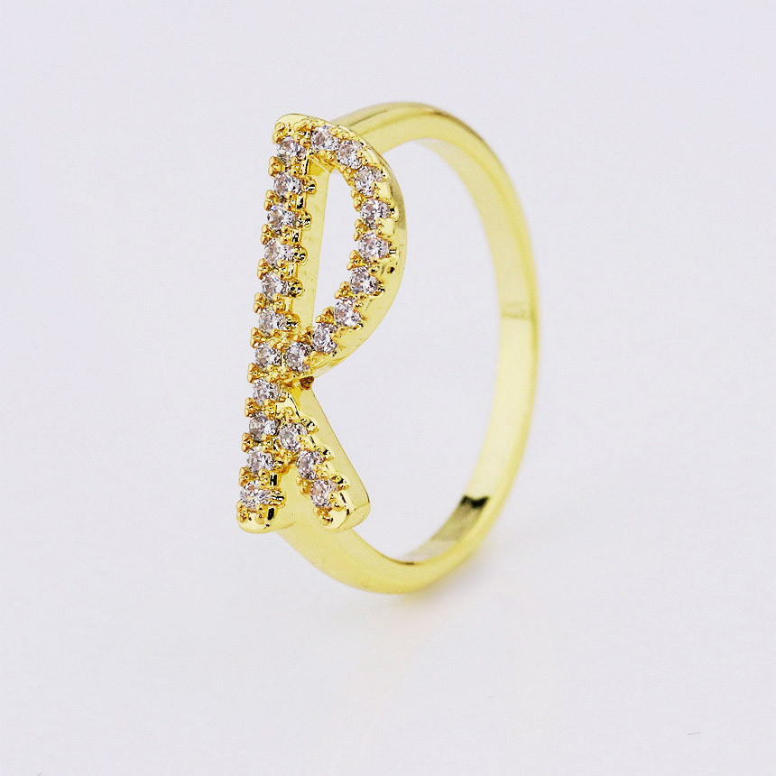 18k gold plated pave cz diamond alphabet letter R initial ring