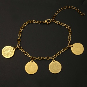Religious Jewelry Accessories Wholesale Stainless Steel Charm Goldplated Cross and Metal Bracelet with Coins