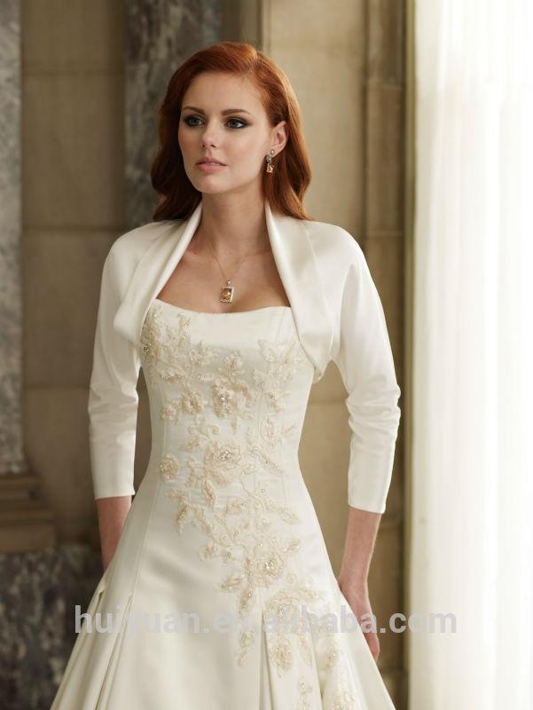 blanco vestido de novia de manga larga bordada-vestidos de boda