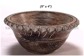 Antique Hand Carved Wooden Bowl New