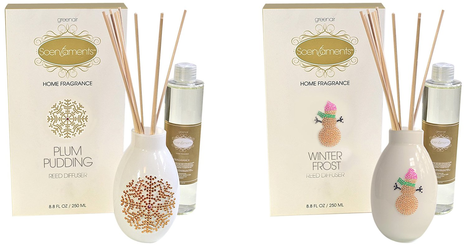 Greenair Holiday Reed Diffuser Set, Plum Pudding and Winterfrost, 8.8 Fl Oz, 2 Count