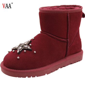 AN-CF-79 Ankle Length Popular Wine Color Diamonds Antiskid Fashion Winter Boots Snow Boots