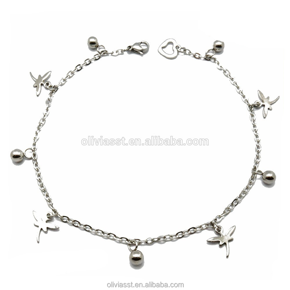 High polish chain jewelry fancy imitation stainless silver anklet