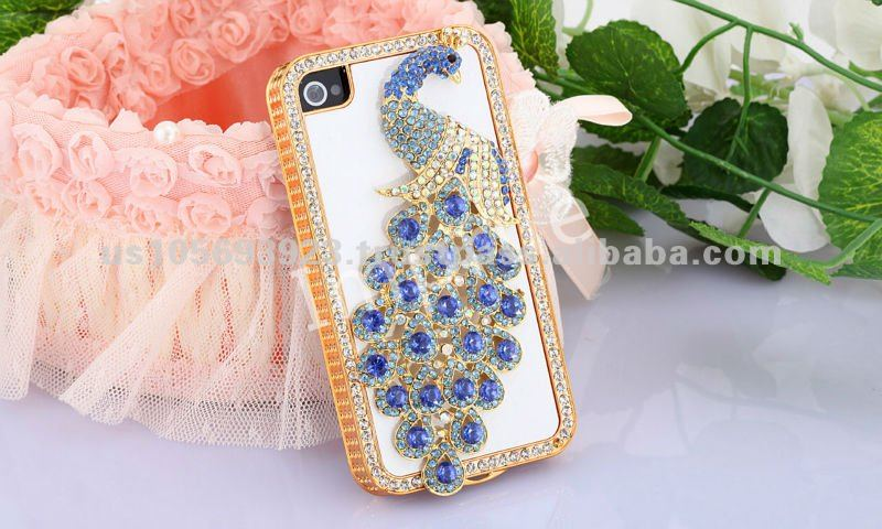Luxurious Design Bling Peacock Rhinestone With Leather Back Cover Mobile Phone case for iPhone 4S 4 G