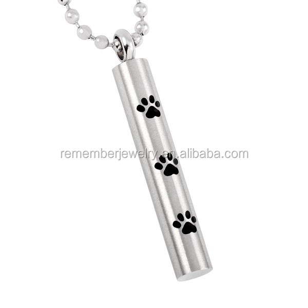 SRP8347 Trend 2016 Pet Cremation Pendant Paw Print Cylinder Cremation Jewelry for Ashes