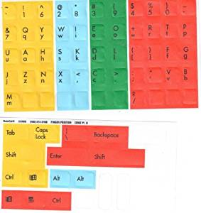 """Finger Position Keyboard Stickers Labels Decals for the Beginning Typing Student to Graphically Showing """"Typing Zones"""" for each Finger (Lexan® Polycarbonate Material, 3M® Adhesive)"""