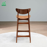 Classic cafe Walnut Bar Counter Stool High Chair