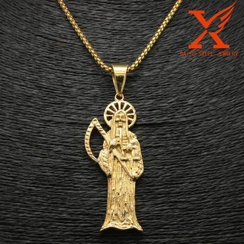 Holy saint death santa muerte skull gold pendant stainless steel holy saint death santa muerte skull gold pendant stainless steel charm jewelry mozeypictures Images