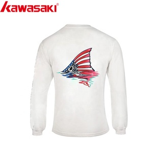 Long Sleeves Round Neck Sublimation Print White Fishing Jersey Breathable Fishing T shirt