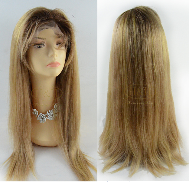 Brown roots brazilian straight hair long honey blonde human hair full lace wig