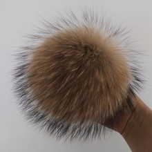 Real raccoon fur pom poms with snap button for beanie hat