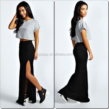 Beste Wholesale Thigh High Split Formal Skirt Long Black Gypsy Skirts TG-21