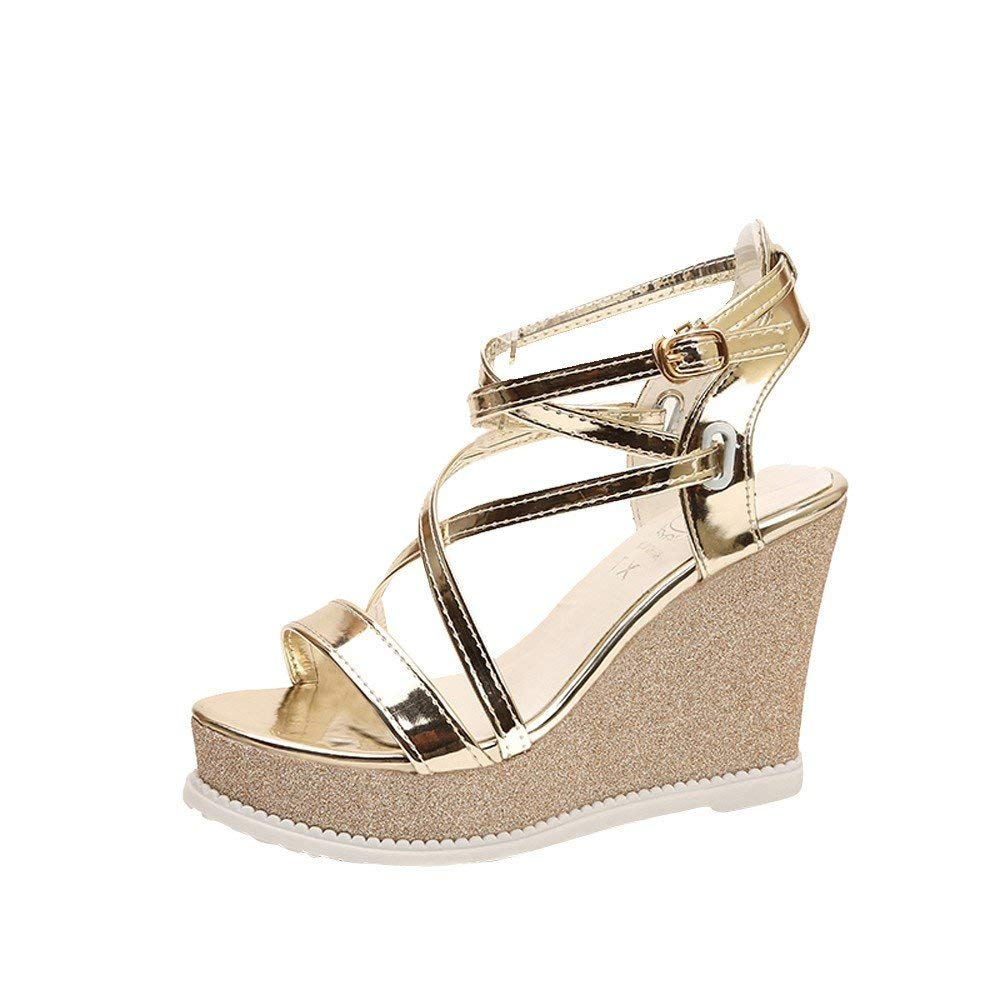 G&Kshop Platform Wedge Sandal,Women Gladiator Wedge Sandals Peep Toe Ankle Strap High Heels