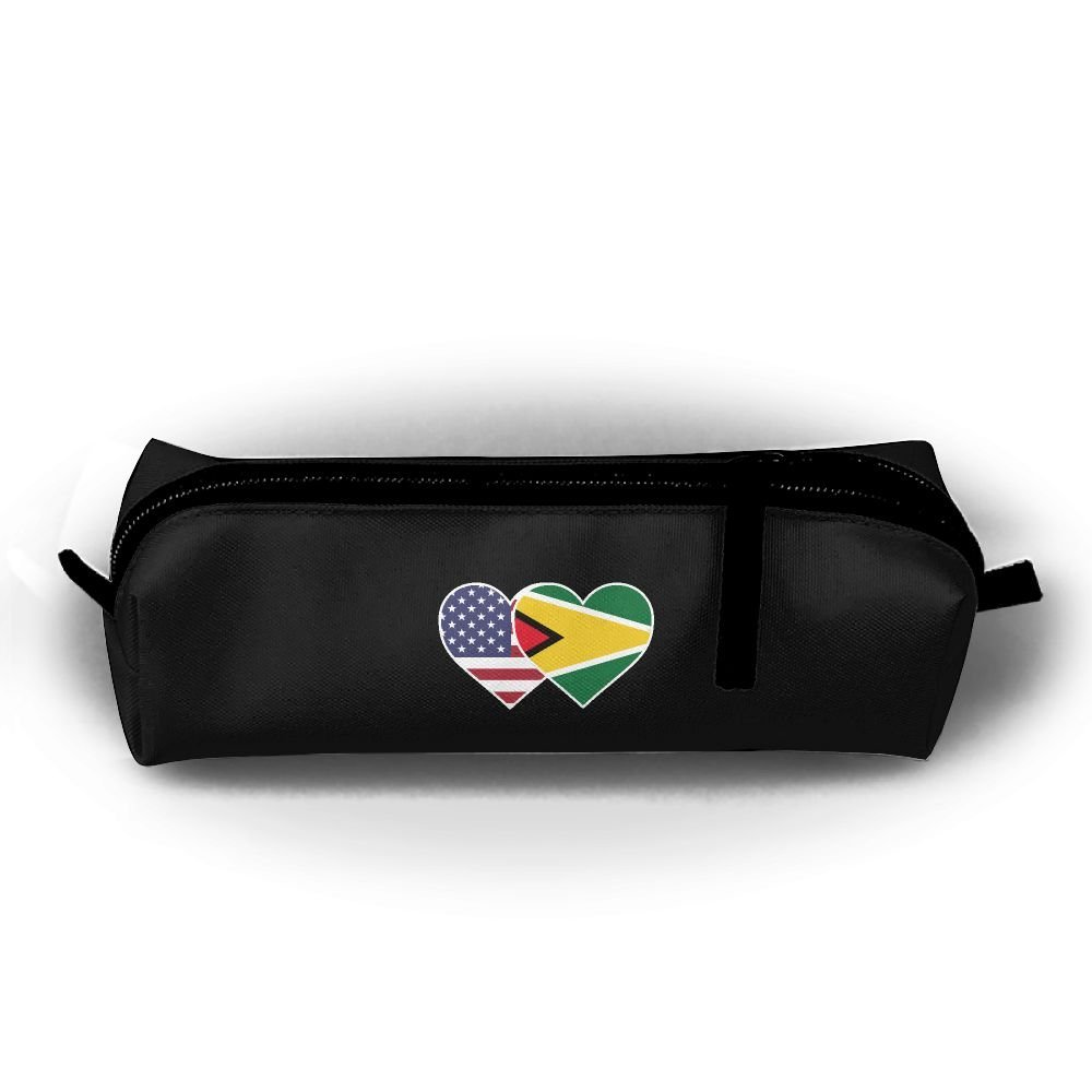Guyana USA Flag Twin Heart Children Boys Zipper Stationery Pouch Cosmetic Bags Unisex Cylindrical Purse