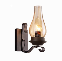 Wholesale Cheap Wrought Iron Vintage Kerosene Glass Lampshade Wall Bracket Lamp Home Bar Coffee Decor Lighting Wall Lampras