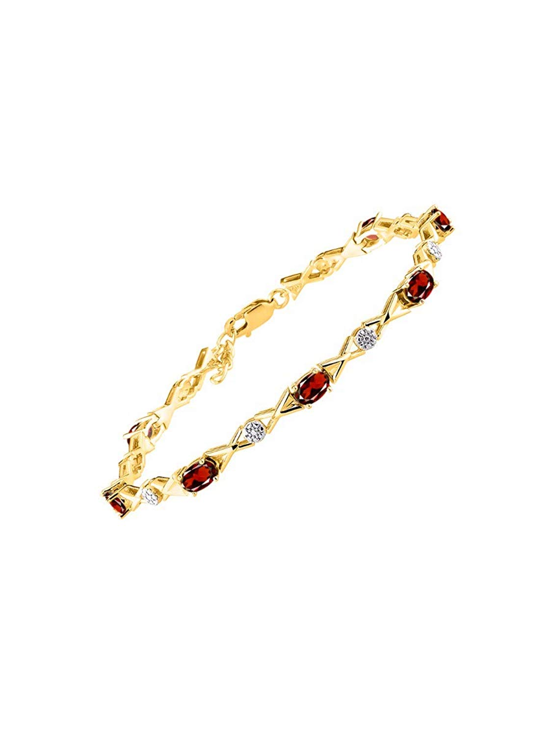 "Stunning Garnet & Diamond S XOXO Hugs & Kisses Tennis Bracelet Set in Yellow Gold Plated Silver - Adjustable to fit 7"" - 8"" Wrist"