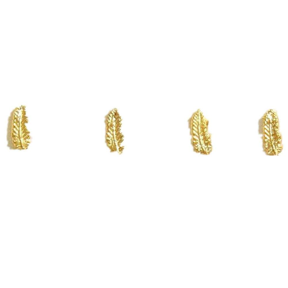 KeyZone 10 Pcs 3D Nail Art Hot Metal Feather Alloy Jewelry Sticker Rhinestone Gold