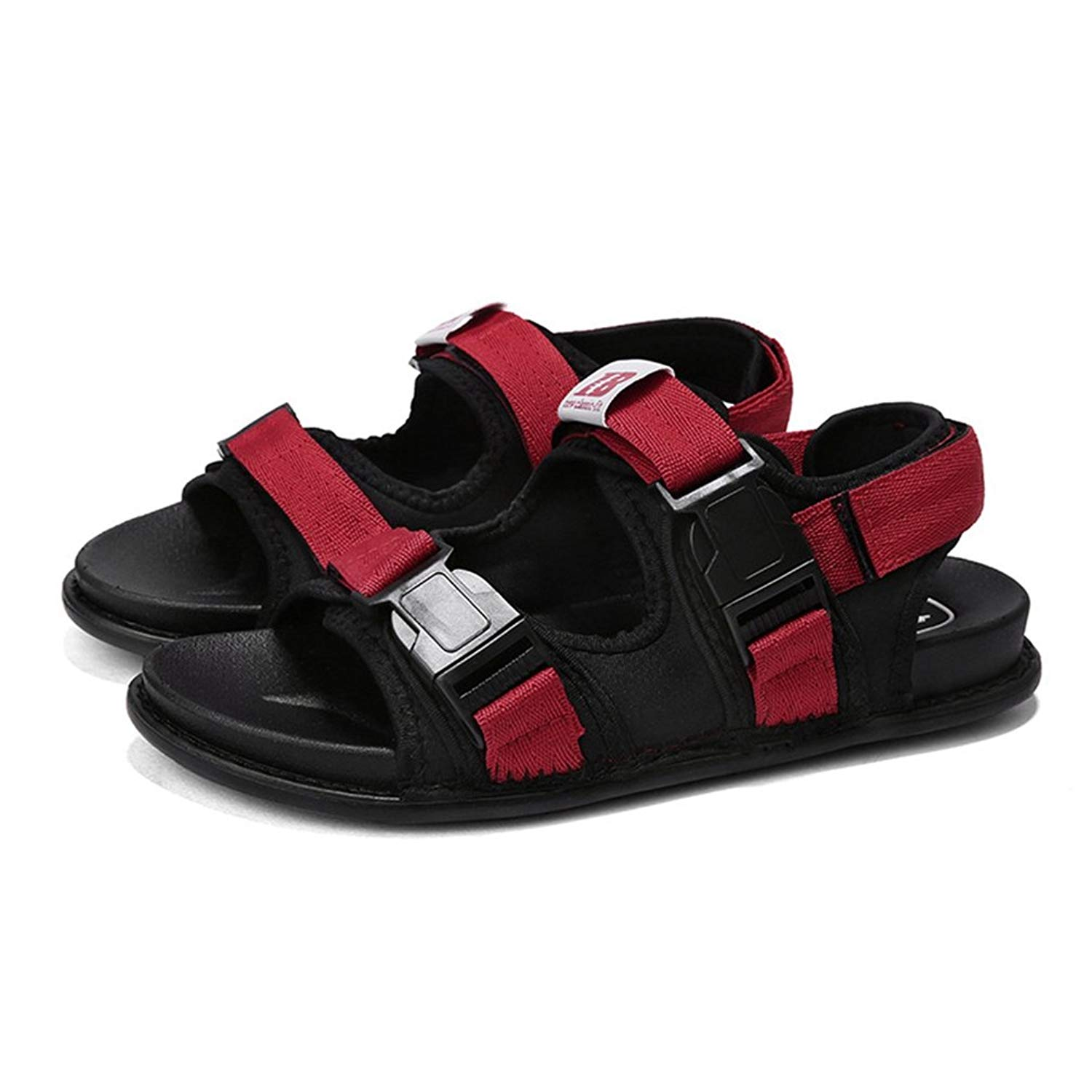 e79541be2f2b Get Quotations · T-JULY Men s Arch Support Sandals Comfort Adjustable  Straps Outdoor Water Snap Lock Beach Shoes