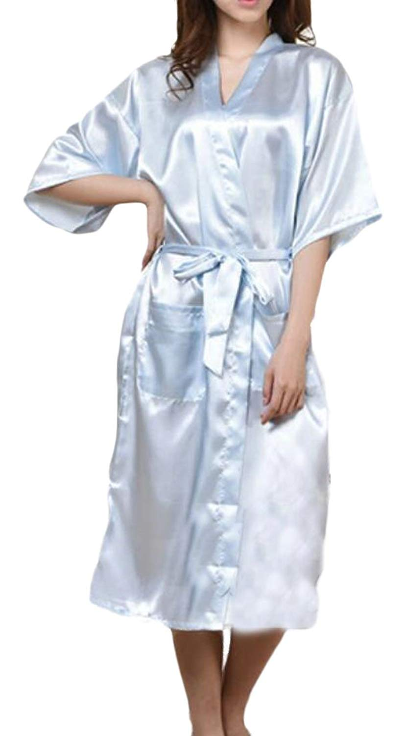 8bf75c0a76 Get Quotations · Rrive Womens Nightwear Short Sleeve Solid Kimono Satin Robe  Sleepwear Robe