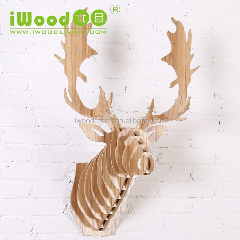 wood deer head wall decoration, home decoration, office decor