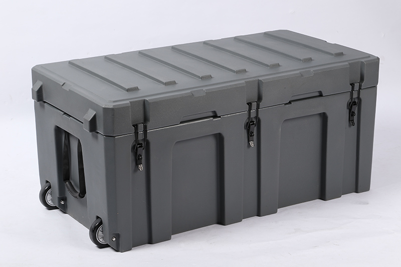 248L roto molding plastic equipment case waterproof hard plastic tool box with wheels cargo case