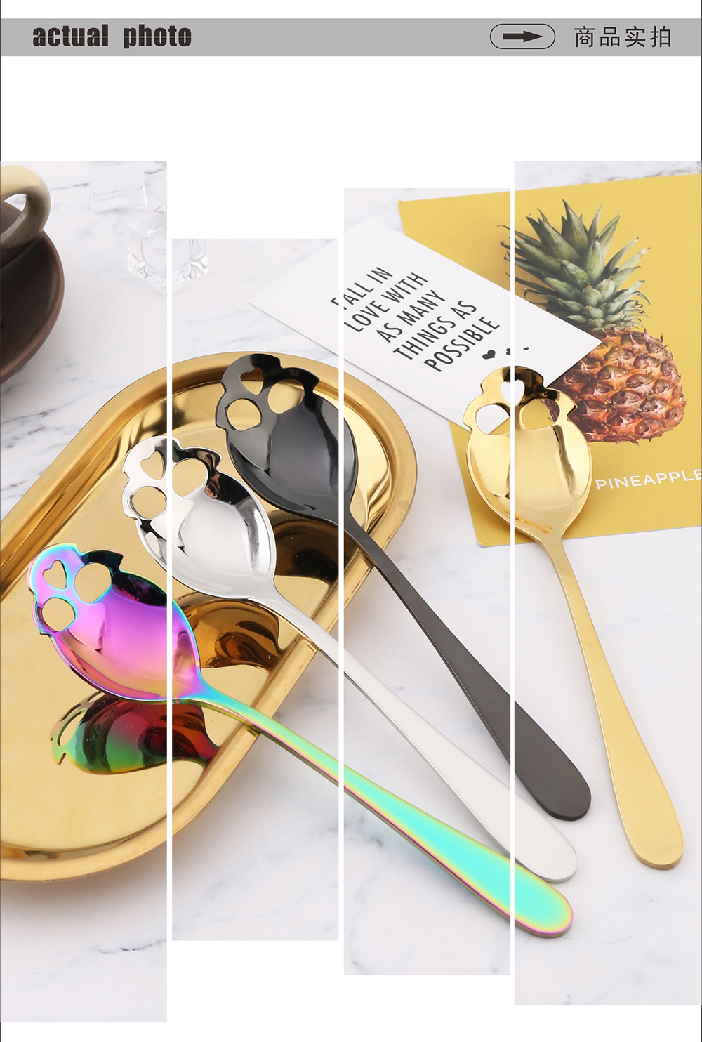New Design Stainless Steel 304 Sugar Dessert Coffee Bar Spoon with Hollow Heart