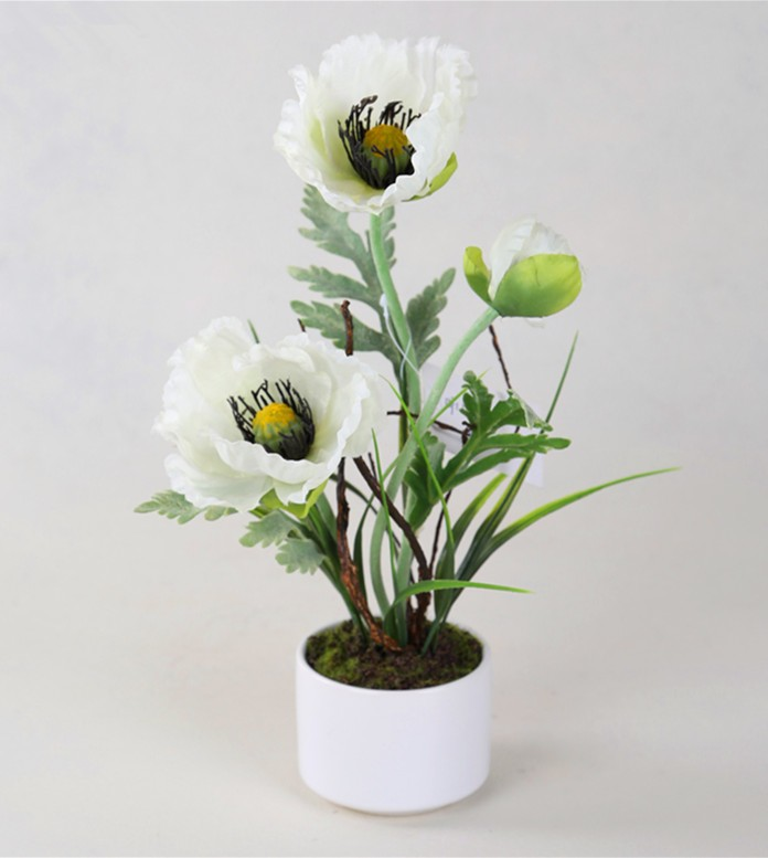 Faux fabric white poppy flower with ceramic pot