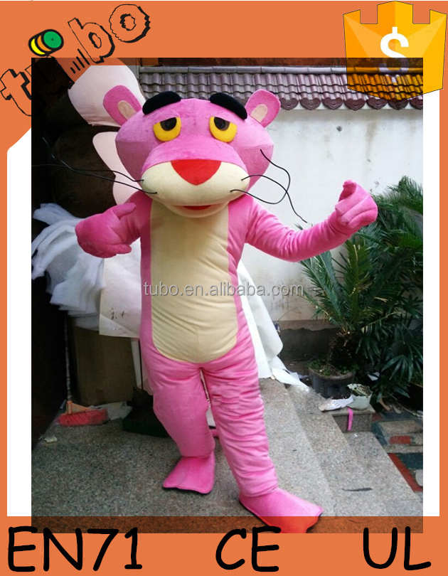 2015 hot sale cheap custom popular plush panther cartoon character mascot costumes / panther cartone costume for adults