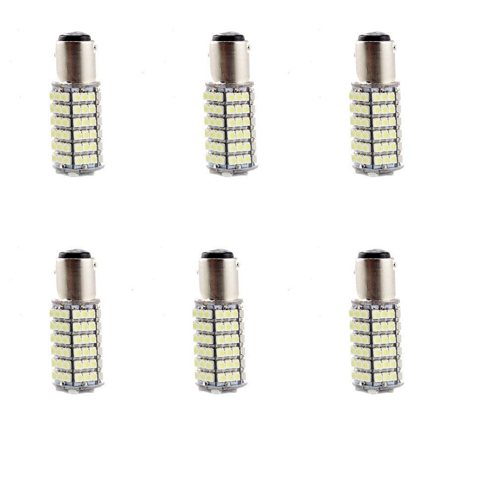 Everbright 6-Pack Cool White 1157 BAY15D 1016 1034 1154 2057 2397 Base 3528 120SMD Car LED Bulbs For Turn ,Reserve backup,Stop Brack ,Tail Lights etc(DC-12V)