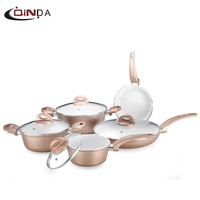 China popular 8 pcs Forged aluminum ceramic coating induction cooking pots
