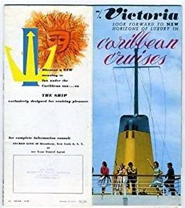 M/S Victoria Caribbean Cruises Brochure with Deck Plan Incres Line 1960