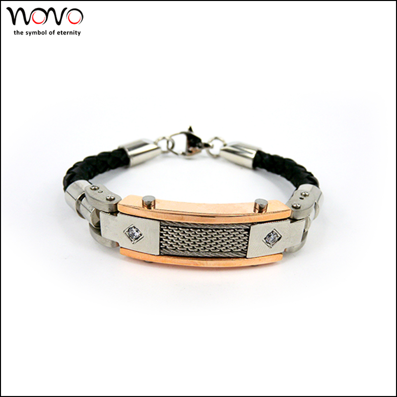 2016 fashion New Trend Leather Jewelry Stainless Steel Mens Bracelet