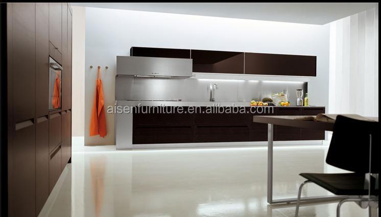 diseo italiano moderno gabinete de cocina de chapa de madera natural popular para el mercado de