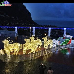 Hot sale outdoor christmas led light santa claus reindeer sleigh
