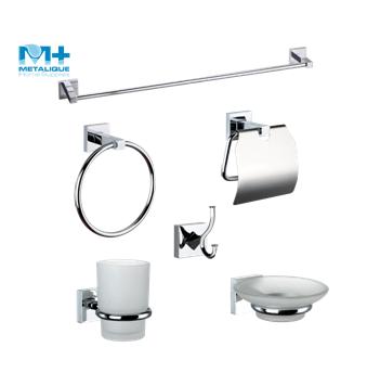 Modern Bath Hardware Set Zinc Chrome Surface Finishing Hanging Glass Corner Shelf Shower Caddy With Steel