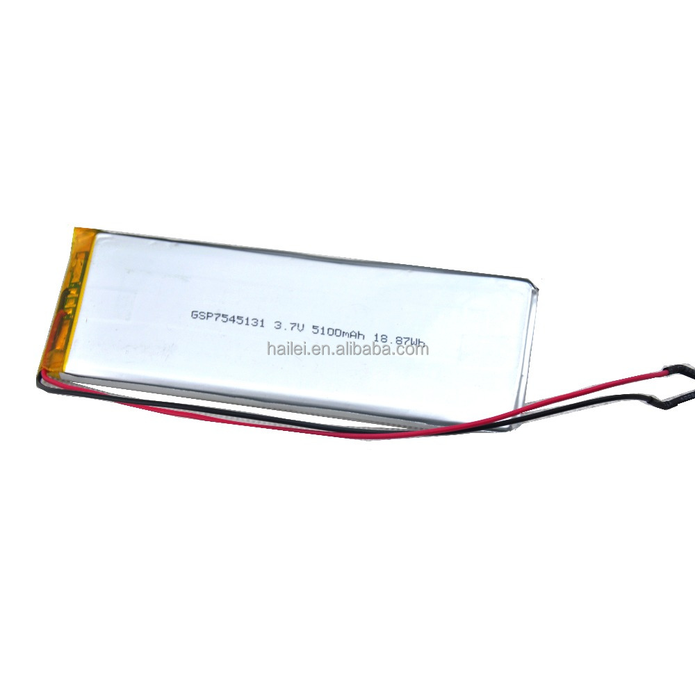 smallest rechargeable 7545131 3.7v 5100mah cheap 3.6v lipo battery