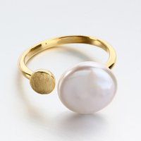 Gold plated 925 sterling silver natural coin baroque pearl cuff ring