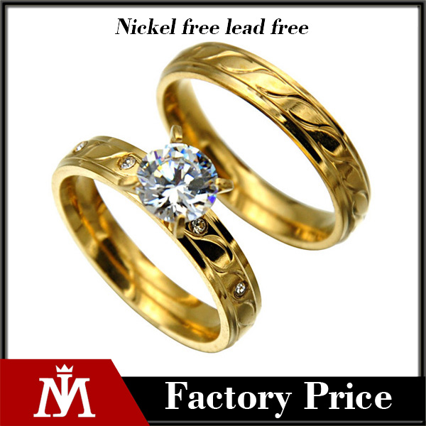 2016 Fine!316l stainless steel gold plated couples rings lovers engagement rings wholesale fashion rings