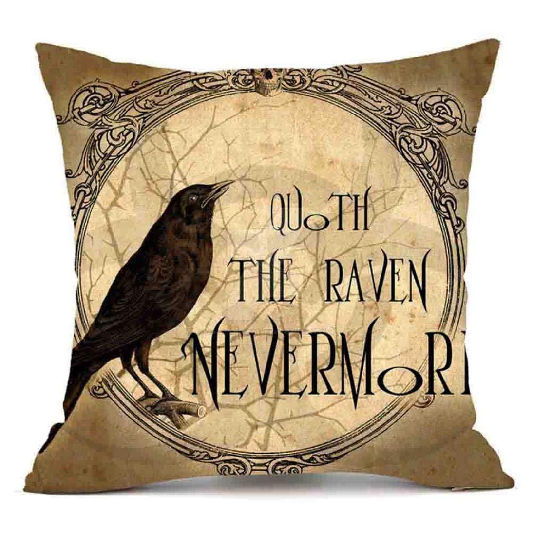 Zainafacai Happy Halloween - Sofa Waist Throw Cushion Cover Pillow Cases Linen- Home Décor (Khaki, One Size)