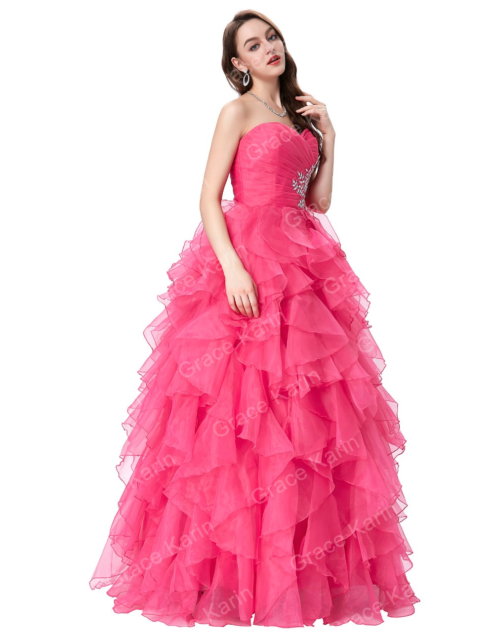 Grace Karin Fashion Strapless Sweetheart Long Hot Pink Ball Gown ...